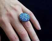Eyecatching Czech Carnival Bohemian glass blue button ring, adjustable size
