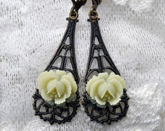 Fresh Lemonade Sorbet Rose dangle earrings with dark antiqued brass filigrees, leverback earwires - non allergy