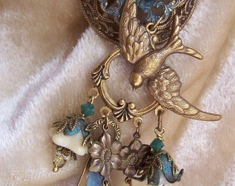 Verdigris Forest Rain Vintage style luxurious unique ooak statement necklace, with a swallow, flowers, filigree