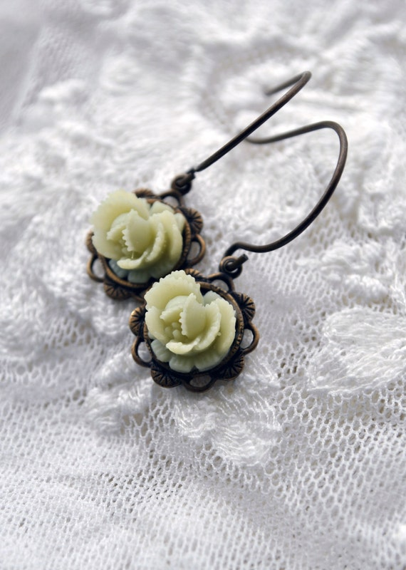 Little Lemon Lime Lemonade Sorbet color flower dangle earrings in dark antiqued brass filigree frames