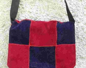 Velvet Patchwork shoulder Bag   red-blue medium