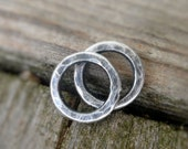 Pair of my Handforged, hammered Sterling Silver Loops - 8mm. Handmade. Hand forged. Oxidized and polished.