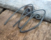 2 Pairs of my Furl Sterling Silver Earwires - Handmade. Handforged. Heavily Oxidized