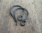 4 pairs of my Ball End Twinkle Fine Silver Earwires - Handmade. Handforged. Heavily Oxidized