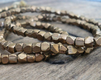 Faceted Brass Nugget Beads - 3-3.5mm, 12 inch strand