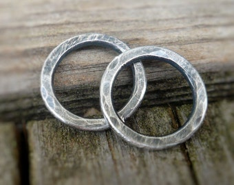 Pair of my Handforged, hammered Sterling Silver Loops -10mm. Handmade. Hand forged. Oxidized and Polished.