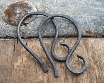 Twinkle Sterling Silver Earwires - Handmade. Handforged. Heavily Oxidized
