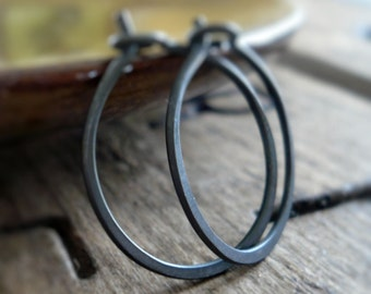 3/4 inch Sterling Silver Hoops - Handmade. Handforged. Heavily Oxidized