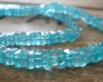 Beautiful Apatite smooth square nuggets- 4mm, 8 inch strand