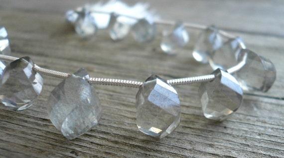 Silver Grey Topaz Spiral briolettes - 10-11mm, 1/2 strand