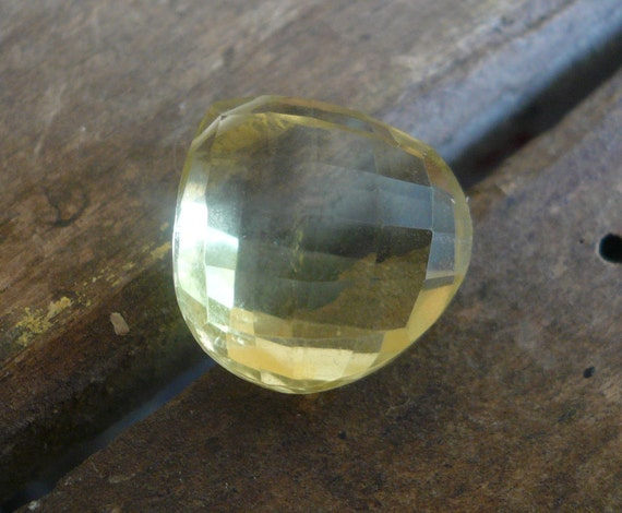 Large AA Lemon Quartz Focal Briolette - 14mm, 1 bead