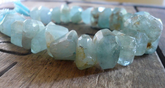 Earthy Moss Aquamarine Center Drilled Nuggets - 14mm-18mm, 1/2 strand