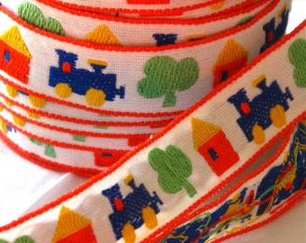 Trains, Trees, and Houses juvenile woven jacquard tyrolean ribbon sewing trim- 1 yard