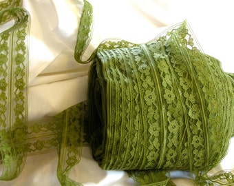 """Vintage Olive Green fold-over woven sewing lace 1-1/2"""" wide - 3 yards - Sewing Supplies Notions Trim Lace Craft Destash DIY Lingerie Lace"""