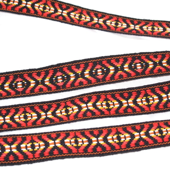 "Jacquard Ribbon Sewing Trim, Red, black, orange, yellow and white X's and diamonds geometric   7/8"" wide - 1 yard - last one"