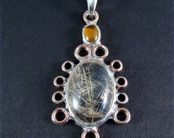 Sterling Silver Amber and Rutilated Quartz Pendant