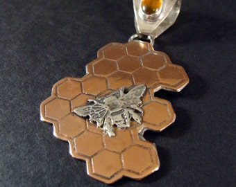 Etched Honeycomb And Bee In Copper And Sterling Silver With Amber 534