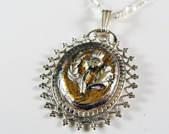 Silver and Gold Scottish Thistle Necklace 575