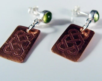 Celtic Copper With Natural Apple Green Peridot Sterling Silver Post Earrings  595