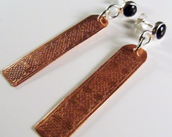 Celtic Copper And Sterling Silver Post And Dangle Earrings  606