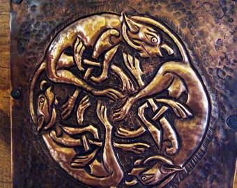 Celtic Copper Repousse Hounds  A-4