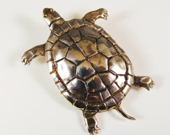 Sterling Silver Turtle Hand Chased Brooch  609