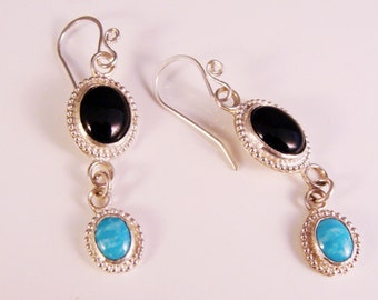 Black Onyx and Turquoise Sterling Silver Dangle Earrings  612