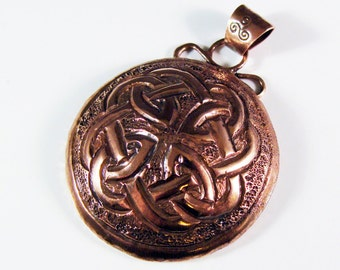 Hand Chased Copper Celtic Knot Pendant  618