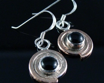Copper Spiral Earrings with Black Onyx