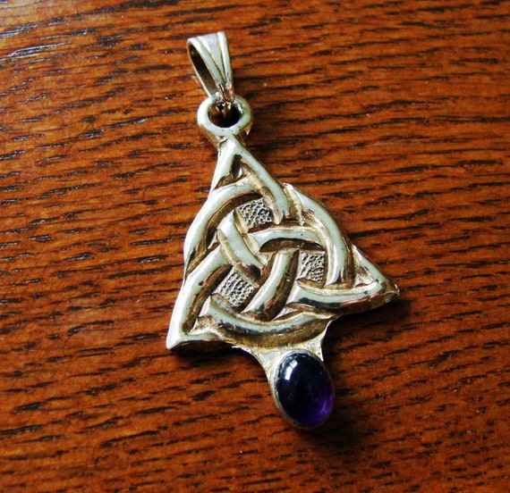 Hand Chased Sterling Silver Celtic Knot  with Amethyst Pendant  619