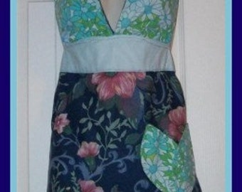 Retro Blue Halter Floral Apron Reversible Upcycled Ready-to-ship