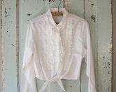 Vintage Midriff Ruffle Blouse. Shirt