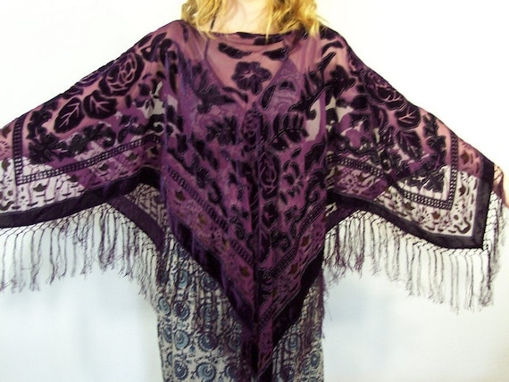 RESERVED FOR carlyinmelbourne  Vintage Deep Purple Velvet and Sheer Shawl/Poncho