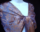 Rich Coffee Brown and Lavender Silk Art Nouveau Devore Shawl - Original and Unique
