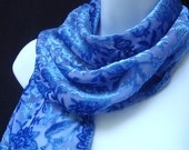Royal Blue and Lavender Intricate Floral Devore Cut Velvet Scarf with Fringe - Original and Unique