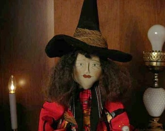 """WITCH DOLL with Ruby Shoes and Spell Book, """"Gisela"""" Primitive PATTERN Folk Art Witch Doll"""