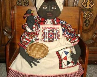 Primitive Black Doll PATTERN with Apple Pie and Black CROW #114 Free Shipping