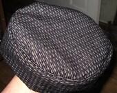 "Stunning Bucharian tapestry kippah black n white small weave  yarmulke 22"", 23"" or 24"" circumference"