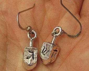 Dreidel draidel Judaica earrings sterling spin dreidel great for Hannukkah nice Chanukah jewelry