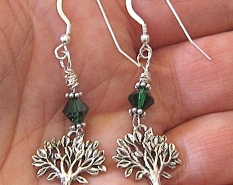 Tree of Life silver Swarovski crystal earrings in emerald green, jet black or amethyst---Earth Day is every day