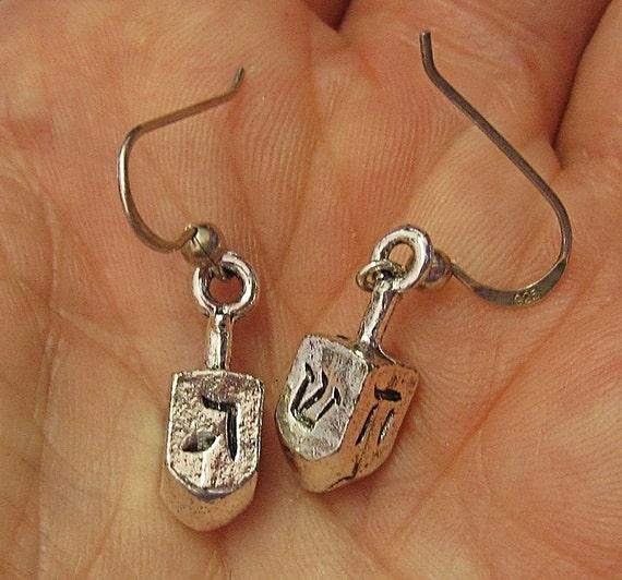 Dreidel draidel Judaica earrings sterling spin dreidel great for Hannukkah--nice Chanukah jewelry