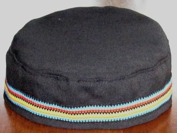 BLACK kippah with multicolored striped tapestry trim crown style Bucharian Kippah yarmulke