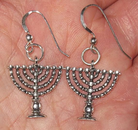 Chanukah hannukkah menorah sterling silver plated earrings nice Judaica jewelry