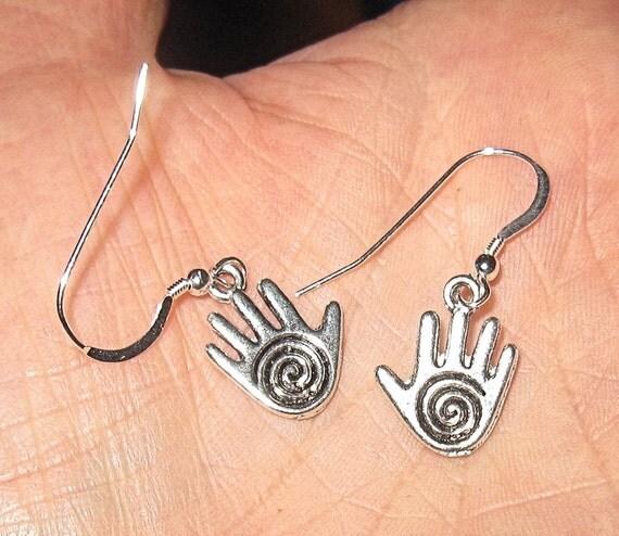 Healing hand hamsa silver earrings swirl style new age