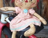 RAGGEDY DOLL IN PINK AND AQUA ANNABELLE'S ATTIC