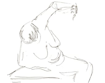 Art print - Shield - Gesture drawing figure study, pen ink, giclee print, nude