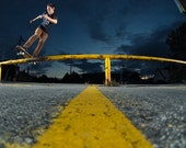 Skateboarding at sunset 18x12 print