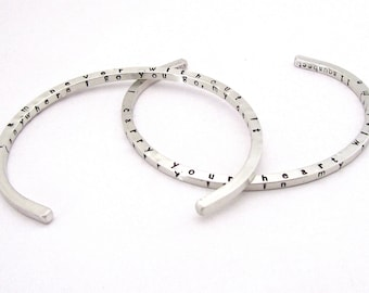 I Carry Your Heart 4-sided Skinny Cuff Bracelet - I Carry Your Heart Bracelet - Silver Cuff Bracelet