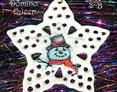 Snowman Snowflake Porcelain Hanging Ornament NOW ON SALE