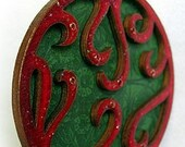 Filigree Elegance in Red and Green Hanging Lazercut Wood Ornament Bauble NOW ON SALE